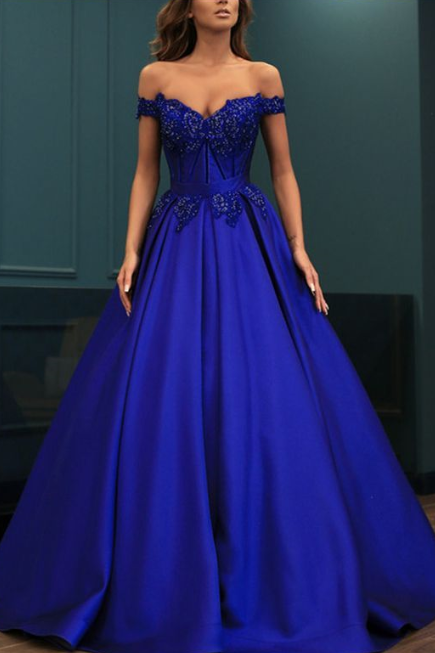 Off the Shoulder Satin Prom Dress,Long Evening Dress,Evening Dress,Sweet Dress,Quinceanera Dresses, Blue Ball Gown