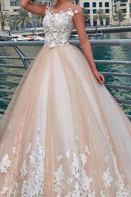 Glamorous Tulle Wedding Dresses,Sheer Jewel Neckline Ball Gown, Wedding Dress With Lace Appliques,3D Flowers Wedding Dresses