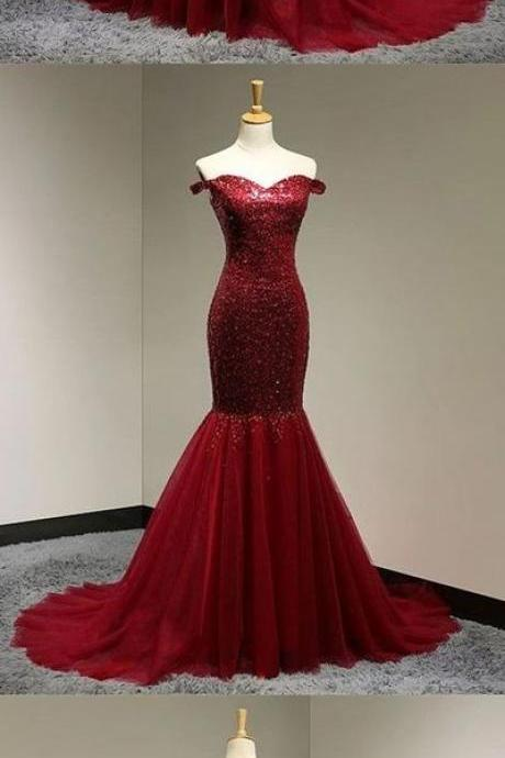 Burgundy Sequins Sweetheart Mermaid Evening Dress, Off Shoulder Prom Gowns,Prom Dress,Long Evening Dress,Evening Dress