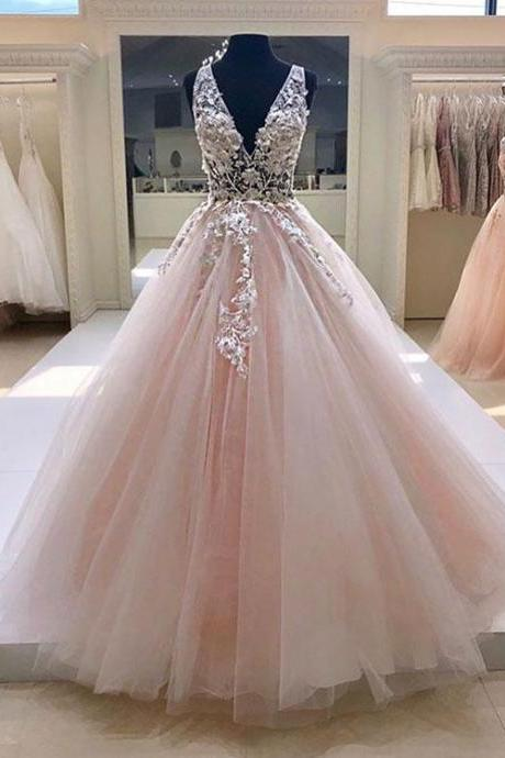 Pink v neck tulle lace long prom dress, pink evening dress,Long Evening Dress,Evening Dresses