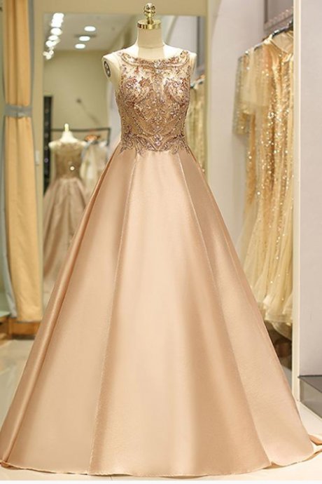 Long Satin Evening Dress,Prom Dresses