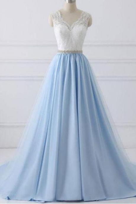 A-Line Lace Open Back V-Neck with Sash Blue and White Cap Sleeve Prom Dresses,Tulle Evening Dress,Prom Dresses