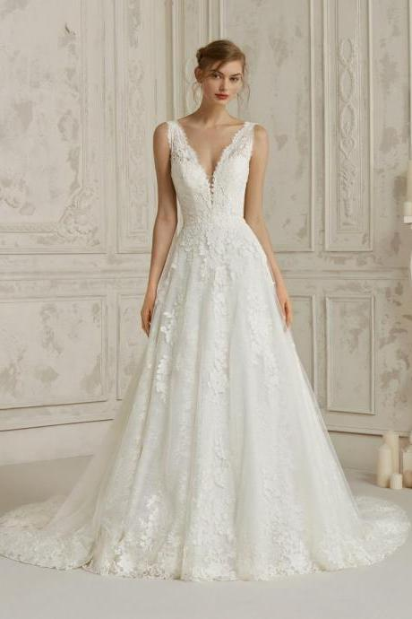 V-neck wedding dresses,white elegant wedding drsees,a-line wedding dresses