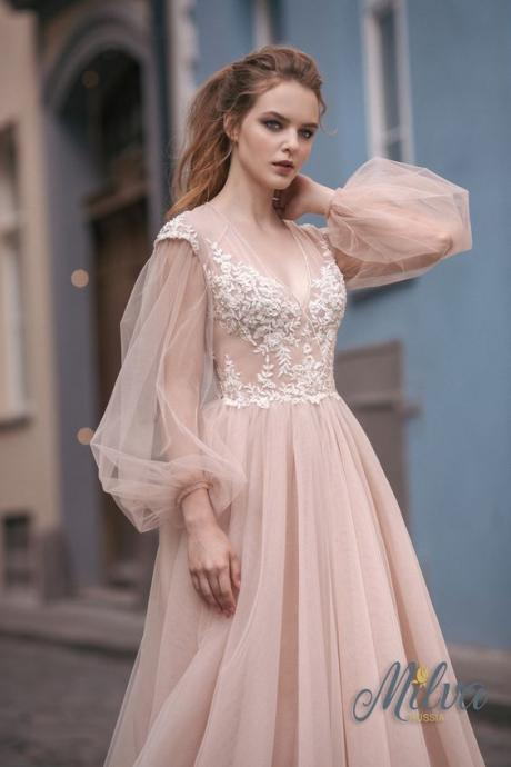 lace chiffon Wedding dress,V Neck Wedding Dress,Long Sleeve Wedding Dress