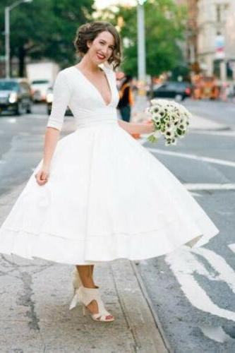 Cheap Short Wedding Dresses, Bridal Gowns Half Sleeves, Tea Length Deep V Neck Wedding Dress,Wedding Dress