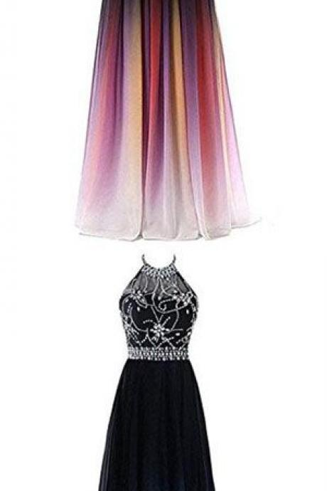 A-line Halter Evening Dress,Gradient ,Chiffon ,Long Prom Dress, Ombre Beads Evening Dresses, Elegant Formal Evening Gowns, A-line evening dress