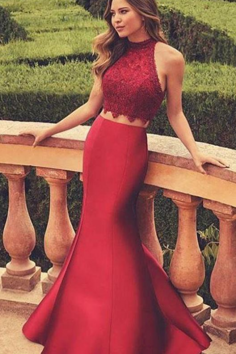 Burgundy Two Piece Formal Hater Prom Dress,Lace Mermaid Sexy Prom Dresses,,Prom Gowns,evening dress