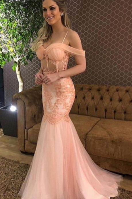 Elegant Pink Tulle Mermaid Off Shoulder Prom Dresses,Long Prom Dress with Lace Appliques,Appliques prom dress,Prom Gowns,A-line evening dress