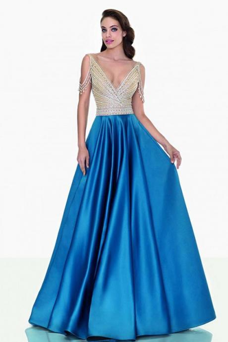 Gorgeous Tulle & Satin Bateau Neckline Prom Dress, Floor-length A-line Prom Dresses With Beading ,Floor Length Formal Gowns , New Fashion, Long Prom Dress