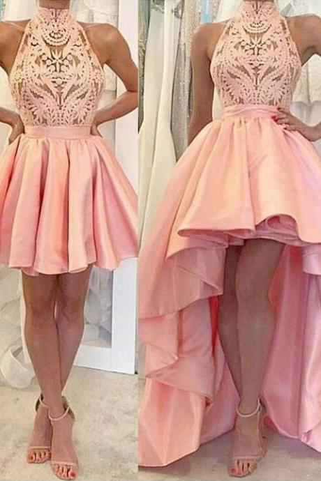 A-line Homecoming Dresses,Pink Homecoming Dresses,Applique Homecoming Dresses,High-low Detachable skit Homecoming Dresses,,High low Evening Gown,High Quality