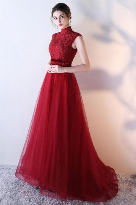 Beading Prom Dress,Sexy High Neck , Sleeveless Evening Dress,Floor Length Party Gown, Burgundy Tulle Prom Dresses