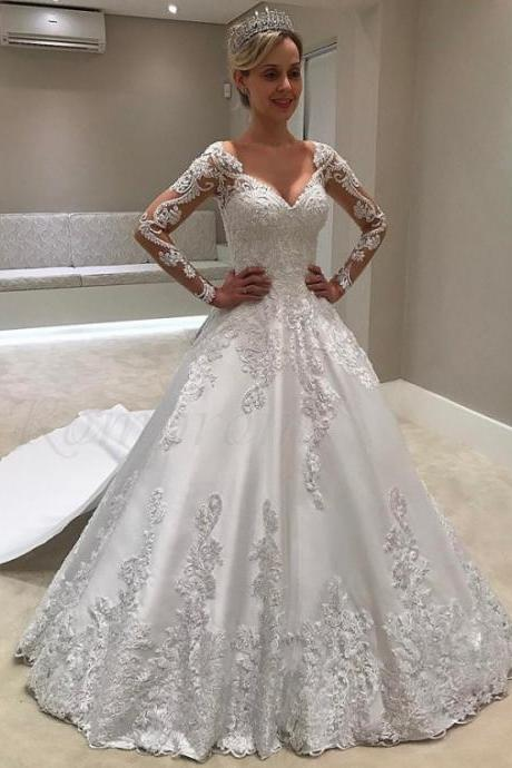 V-Neck Long Sleeves Wedding Dress,Watteau Train Wedding Dress with Appliques ,High Quality Wedding Dresses ,Sexy Formal Evening Dress,Custom Made Bridal Dress