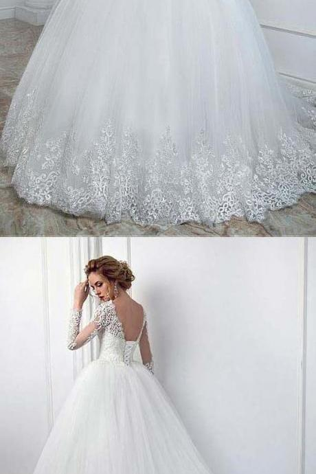 Elegant Bateau Neckline Ball Gown ,Wedding Dress With Lace Appliques ,High Quality Wedding Dresses