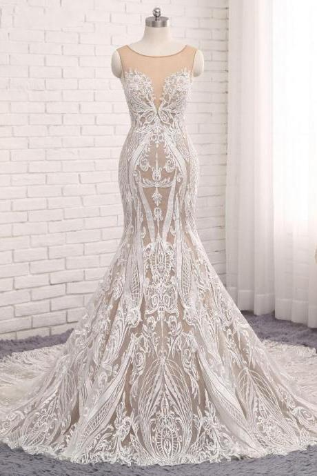 Sleeveless Sheer Luxury Wedding Dresses,Lace Mermaid Wedding Dress, Featuring Sheer Back and Long Train Bridal Dresses