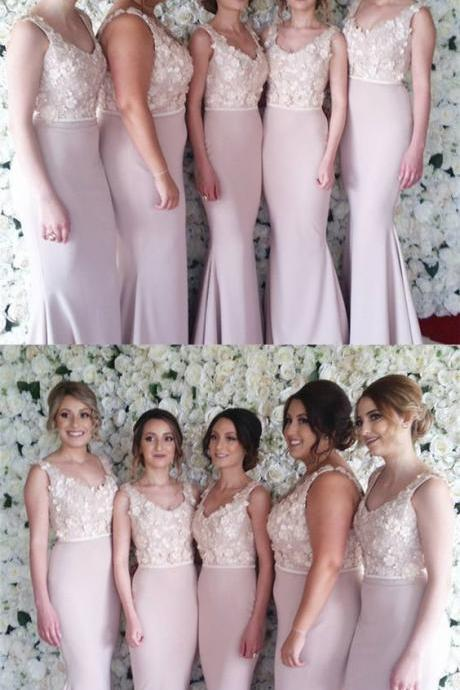Lace Embroidery Beaded V-neck Bridesmaid Dress, Long Satin Mermaid Bridesmaid Dresses
