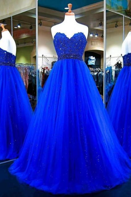 Long Tulle Ball Gowns,Royal Blue Evening Dress,Sweetheart Prom Gowns,Top Lace Royal Blue Long Tulle Prom Dress,A Line Long Tulle Royal Blue Evening Dress