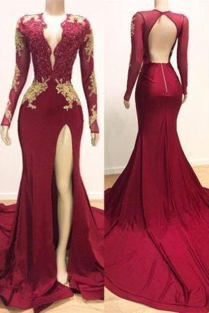 Gorgeous Long Sleeve Mermaid Prom Dresses ,Lace Appliques Evening Gown
