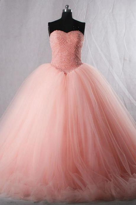 Wedding Dress,Luxury beads Pink Wedding Dress, Sweetheart strapless pink princess beaded long ball gown, Bridal dresses,Tulle Wedding Dresses, Sexy Gril Dress, Floor-Length Prom Dress, Backless Prom Dress, Custom Dress