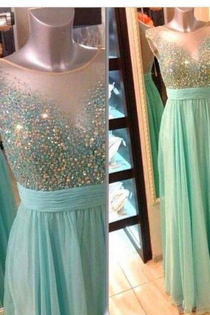 Prom Dress,Charming beads Prom Dress,Mint Prom Dresses, A Line chiffon Prom Dresses, See Through Prom Dress,Sequined Prom Dresses, Mint Evening Dresses, Formal Dress, Sexy Gril Dress, Floor-Length Prom Dresses, Evening Dress,Backless Prom Dress, Custom Dress