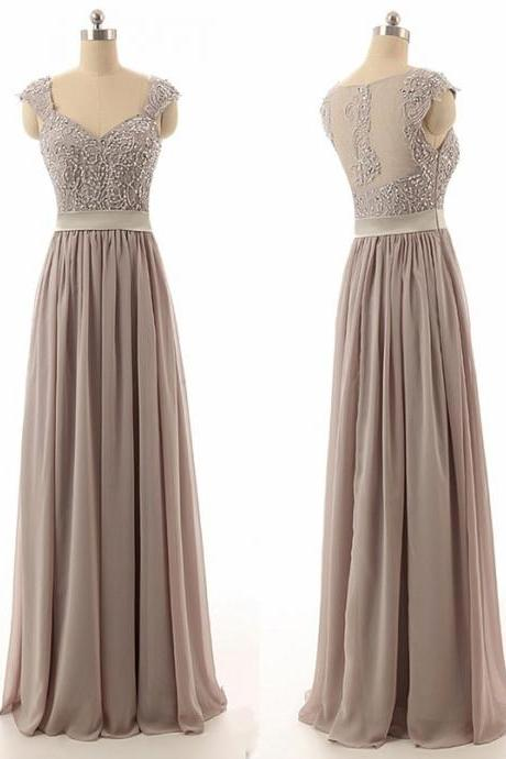 Prom Dress,Simple Sweetheart Floor Length Chiffon Grey Bridesmaid Dress With Beading , Formal Dress, Sexy Gril Dress, Floor-Length Prom Dresses, Evening Dresses, Custom Dress