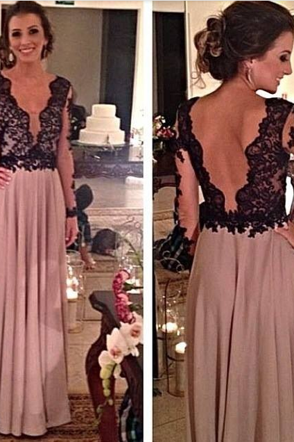 Prom Dress,Sexy Elegant Party Dresses,V-Neck Prom Dress,A-Line Prom Dress,Long Sleeve Prom Dress,Chiffon Prom Dress,Backless Prom Dresses ,Evening Dresses with Sleeves,Formal Dress, Sexy Gril Dress, Floor-Length Prom Dresses, Evening Dresses, Custom Dress