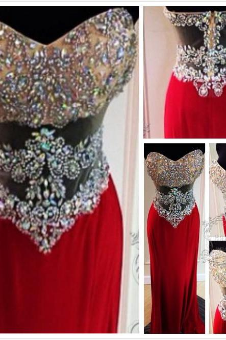 Sparkling Red Long Prom Dress,Beaded Prom Dress, Prom Gowns,Sexy Prom Dress,Sheer Prom Dress,Handmade Prom Dress with Sequin,Women Formal Prom Dress ,Cheap Prom Dress,Formal Dress, Sexy Gril Dress, Floor-Length Prom Dresses, Evening Dresses, Custom Dress