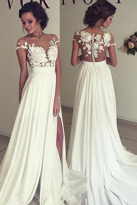 Wedding Dress, Sexy A-Line Split Side Sheer Neck Long Wedding Dress Bridal Gown with Lace ,Cheap Prom Dress,Formal Dress, Sexy Gril Dress, Floor-Length Prom Dresses, Evening Dresses, Custom Dress