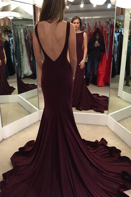 Prom Dress, Scoop Sweep Train Burgundy Backless Prom Dress Evening Gown,Cheap Prom Dress,Formal Dress, Sexy Gril Dress, Floor-Length Prom Dresses, Evening Dresses, Custom Dress