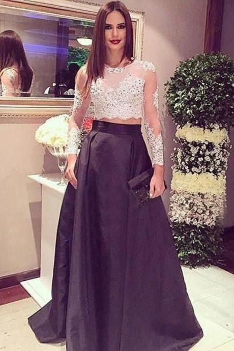 Prom Dress,Stunning Two Piece Long Sleeves Black Prom Dress with Lace Beading ,Cheap Prom Dress,Formal Dress, Sexy Gril Dress, Floor-Length Prom Dresses, Evening Dresses, Custom Dress
