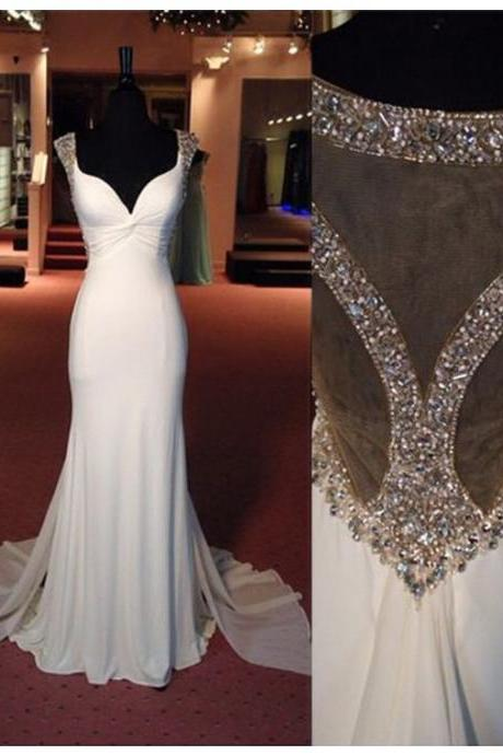 Prom Dress, Sexy Mermaid Sweetheart Cap Sleeves Detachable White Prom Dress with Beading Rhinestone,Cheap Prom Dress,Formal Dress, Sexy Gril Dress, Floor-Length Prom Dresses, Evening Dresses, Custom Dress