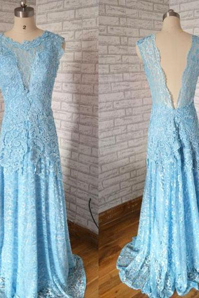 New Arrival Fashion Cap Sleeves Backless Blue Lace mermaid prom dress,Long elegant Princess prom dress.Fashion lace evenng dress,Cheap Prom Dress,Formal Dress, Sexy Gril Dress, Floor-Length Prom Dresses, Evening Dresses, Custom Dress