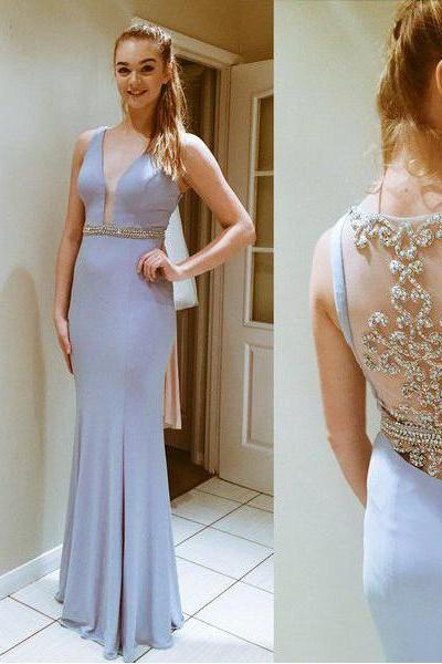 Illusion Back Dress For Prom Evening Party ,Cheap Prom Dress,Formal Dress, Sexy Gril Dress, Floor-Length Prom Dresses, Evening Dresses, Custom Dress