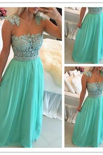 Prom Dress, New Arrival Prom Dress, Green Prom Dress, Lace Prom Dress, Chiffon Prom Dress with Beadings, Sheer Neck Prom Dress, Capped Sleeve Prom Dress, Long Prom Gown, Hot Sale Prom Dress, Custom Made Prom Dress ,Cheap Prom Dress,Formal Dress, Sexy Gril Dress, Floor-Length Prom Dresses, Evening Dresses, Custom Dress