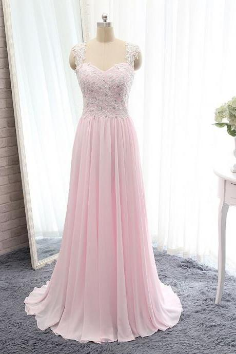 Pink Sweetheart Lace Appliqué Chiffon Long Prom Dress with Sheer Lace Back and Sweep Train,Cheap Prom Dress,Formal Dress, Sexy Gril Dress, Floor-Length Prom Dresses, Evening Dresses, Custom Dress