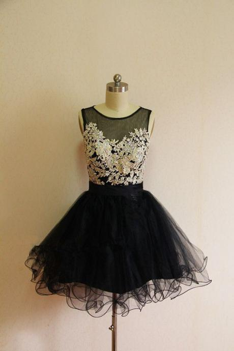 Charming Homecoming Dress,Appliques Homecoming Dress,Organza Homecoming Dress, O-Neck Prom Dress