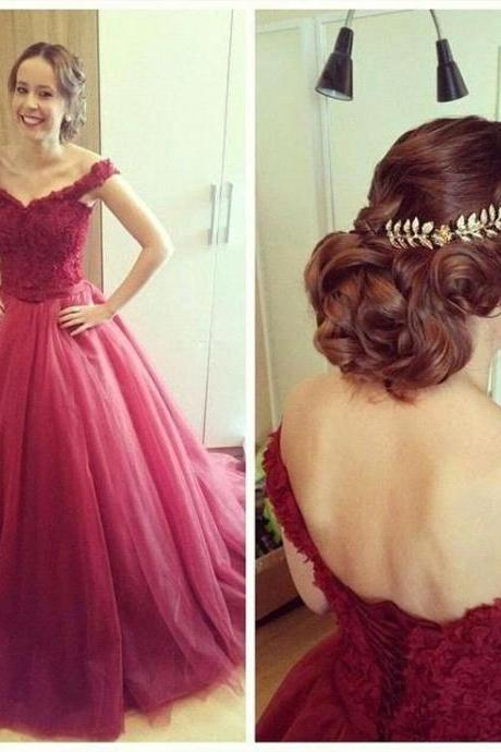 Prom Dress,Sexy Elegant Charming Prom Dress,Tulle Prom Dress,A-Line Prom Dress,Cap-Sleeves Prom Dress,Appliques Prom Dress,Lace-Up Prom Dress,Cheap Prom Dress,Formal Dress, Sexy Gril Dress, Floor-Length Prom Dresses, Evening Dresses, Custom Dress