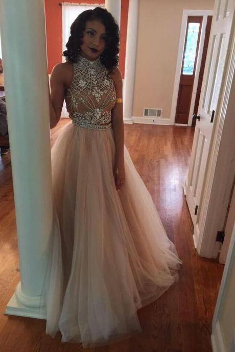 Charming Prom Dress,Tulle Prom Dress,A-Line Prom Dress,High-Neck Prom Dress,Beading Prom Dress,Noble Prom Dress,Cheap Prom Dress,Formal Dress, Sexy Gril Dress, Floor-Length Prom Dresses, Evening Dresses, Custom Dress