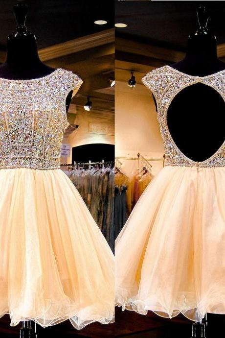 Luxury Homecoming Dress,Short Homecoming Dress,Crystal Beaded Homecoming Dress,Cap Sleeve Homecoming Dress,Open Back Homecoming Dress,Tulle Homecoming Dress,Short Homecoming Dress for Juniors,8th Grade Dance Dress ,Short Prom Dress,Short Party Dress,Cocktail Dress,Short Evening Dress,Short Graduation Dress