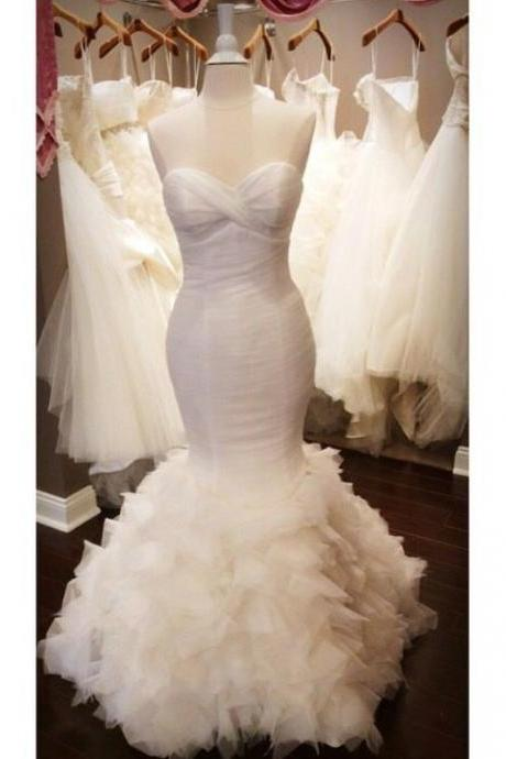 Strapless Sweetheart Ruched Mermaid Wedding Dress with Ruffled Skirt