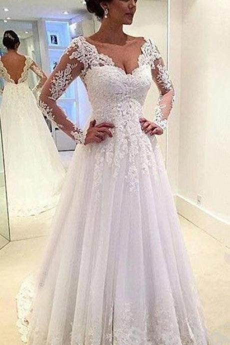 Wedding Dress,Charming long Sleeve Wedding Dress,Lace Wedding Dress ,Wedding Dress for Bride ,Bridal Dress,Bridal Gown,Wedding Dress Plus Size ,Wedding Dress Costume ,Cheap Bridal Dress,Formal Dress, Sexy Gril Dress, Floor-Length Prom Dresses, Evening Dresses, Custom Dress