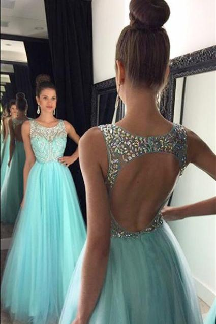 Prom Dress,Sexy Elegant Custom Elegant Boat Neck Bule Chiffon And Lace A Line Long Prom Dress,Beaded Evening Prom Dress,Cheap Prom Dress,Formal Dress, Sexy Gril Dress, Floor-Length Prom Dresses, Evening Dresses, Custom Dress