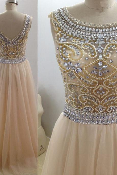 Elegant Long Prom Dress,Beaded Scoop Neck Prom Dress, Sexy Evening Dress,2017 Evening Dresses,Evening Gown,Cheap Prom Dress,Formal Dress, Sexy Gril Dress, Floor-Length Prom Dresses, Evening Dresses, Custom Dress