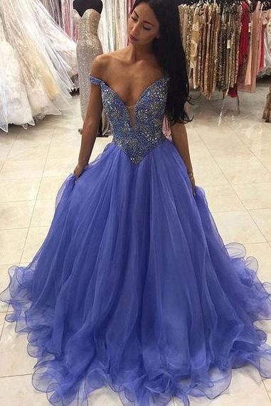 Charming Beaded Prom Dress,Elegant Evening Dress,Long Party Dresses,Tulle Blue Evening Gowns,Sexy Prom Dresses,Formal Dress,Cheap Prom Dress,Formal Dress, Sexy Gril Dress, Floor-Length Prom Dresses, Evening Dresses, Custom Dress