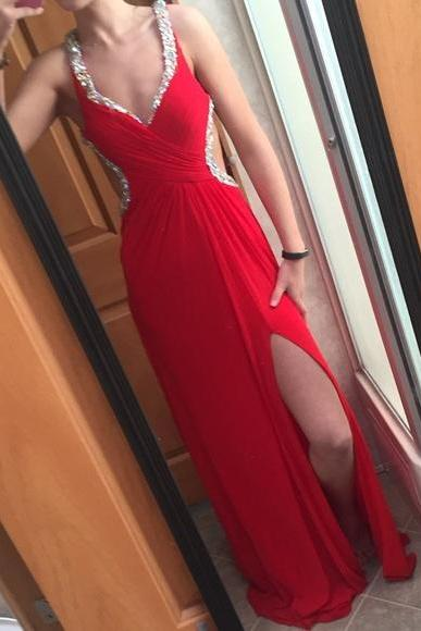 Charming Red Sexy Prom Dress,Elegant Evening Dress,Long Party Dresses,Side Slit Evening Gowns,Sexy Prom Dresses,Cheap Prom Dress,Formal Dress, Sexy Gril Dress, Floor-Length Prom Dresses, Evening Dresses, Custom Dress