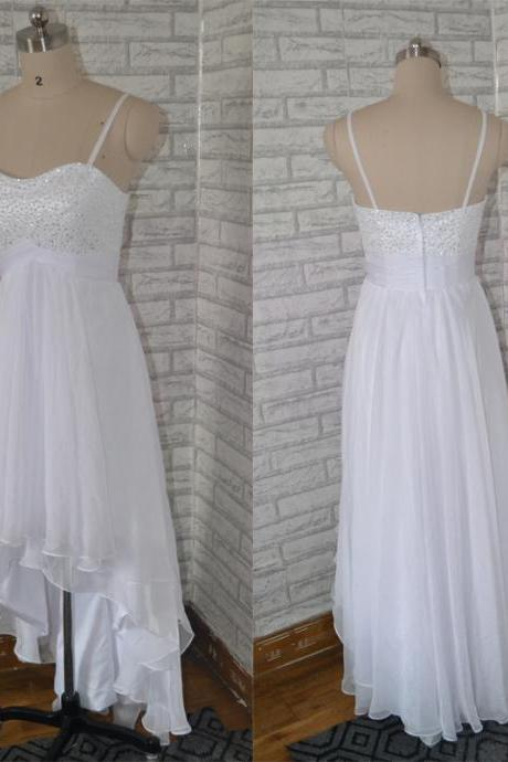Prom Dress,Sexy Prom Dresses,Sleeveless Evening Dress,White Beaded High Low Prom Gown,Spaghetti Straps Prom Dresses,Cheap Prom Dress,Formal Dress, Sexy Gril Dress, Floor-Length Prom Dresses, Evening Dresses, Custom Dress