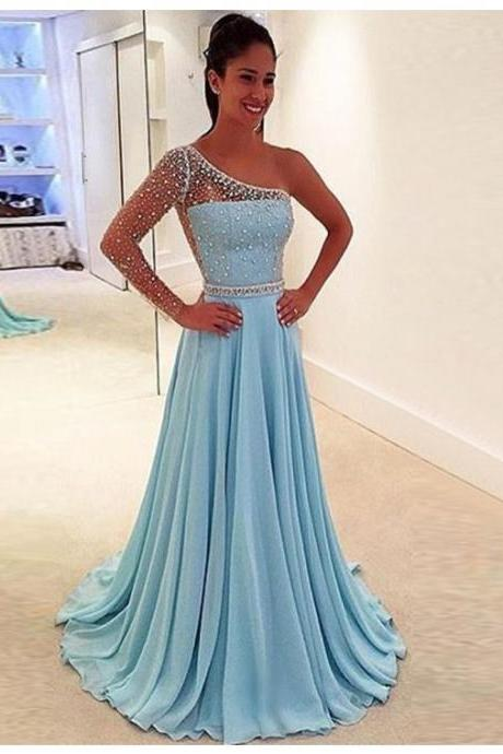 Prom Dress,Charming A-line One Shoulder Sweep Train Blue Prom Dress with Beading,Cheap Prom Dress,Formal Dress, Sexy Gril Dress, Floor-Length Prom Dresses, Evening Dresses, Custom Dress