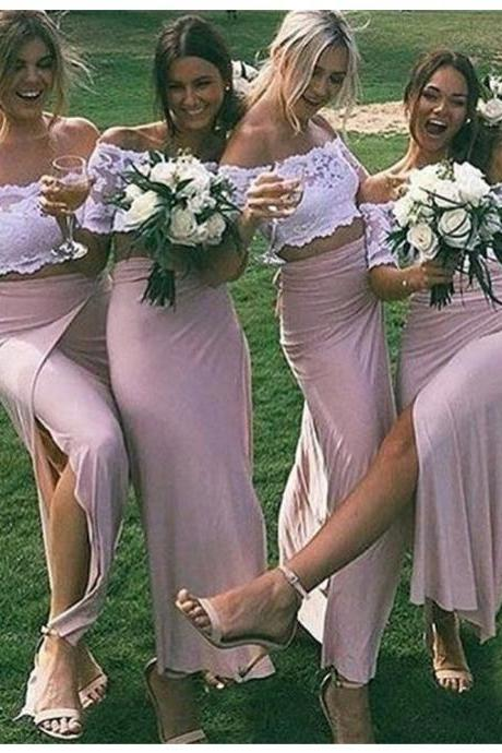 Bridesmaid Dress, Simple Two Piece Off the Shoulder Half Sleeves Split Ankle-Length Sheath Blush Bridesmaid Dress with Lace,Cheap Prom Dress,Formal Dress, Sexy Gril Dress, Floor-Length Prom Dresses, Evening Dresses, Custom Dress