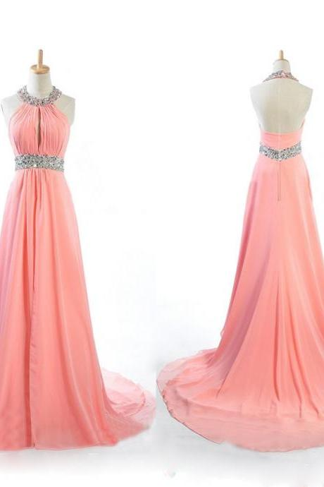 Beaded Embellished Halter Neck Chiffon Floor Length A-Line Formal Dress Featuring Open Back and Train, Prom Dress