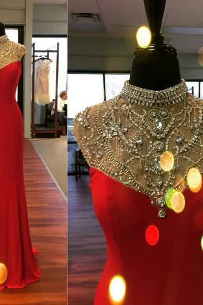 Red Prom Dress, Cap Sleeve Prom Dress, Elegant Prom Dress, Charming Prom Dress, Handmade Prom Dress, Affordable Prom Dress
