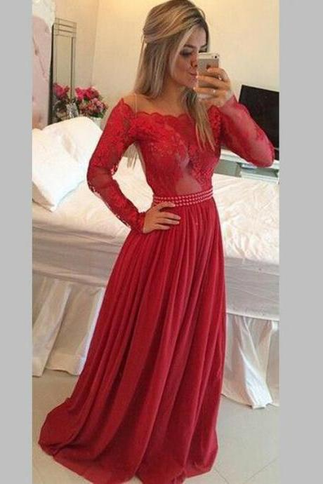 Red prom dress,long prom dress,long sleeves prom dress,lace prom dress,party prom dress,evening prom dress,charming prom dress,sexy prom dress,cheap prom dress